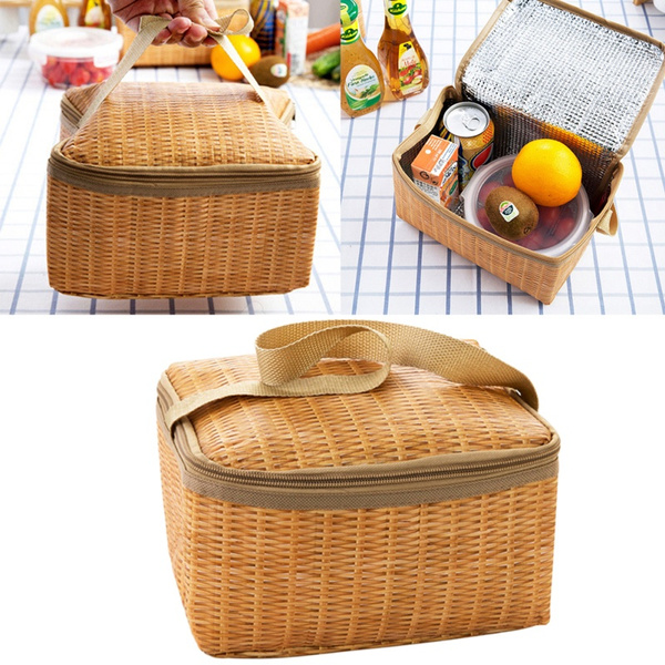 Insulated Thermal Storage Bags Waterproof Lunch Bag Imitation Rattan Woven