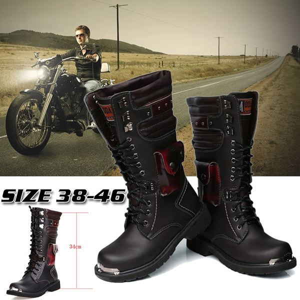 best shoes search for original enjoy cheap price High Top Combat Boots Men British Metal Military Motorcycle Boots Buckle  Lace Up Boots Punk Style Shoes