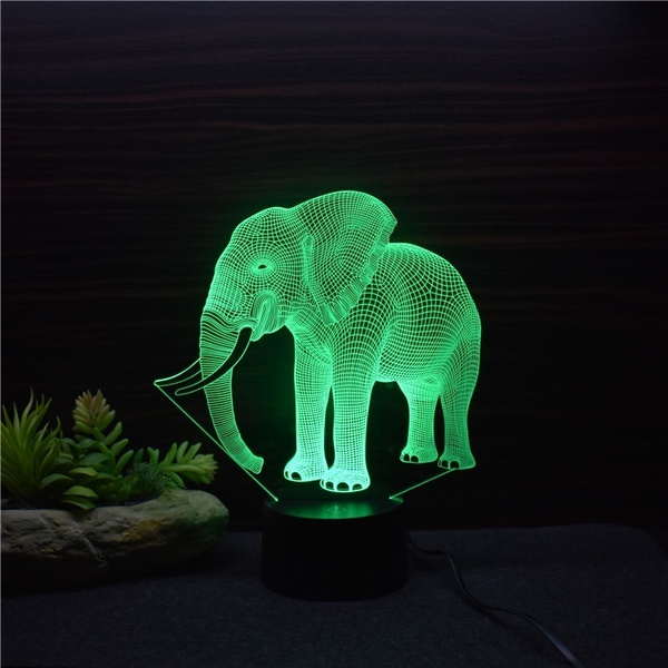 Remote Control Touch Switch 3d Elephant Led 716 Color Night Light Home Decora Table Desk Lamp Xmas Gift