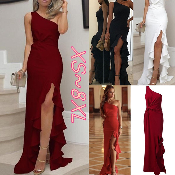 Womens One Shoulder Ruched Ruffle Plus Size Formal Evening Mermaid Maxi  Dress XS-8XL