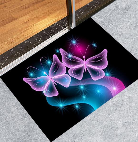 Butterfly Bath Rug Indoor Doormat Super Absorbs Mat Non Slip Door