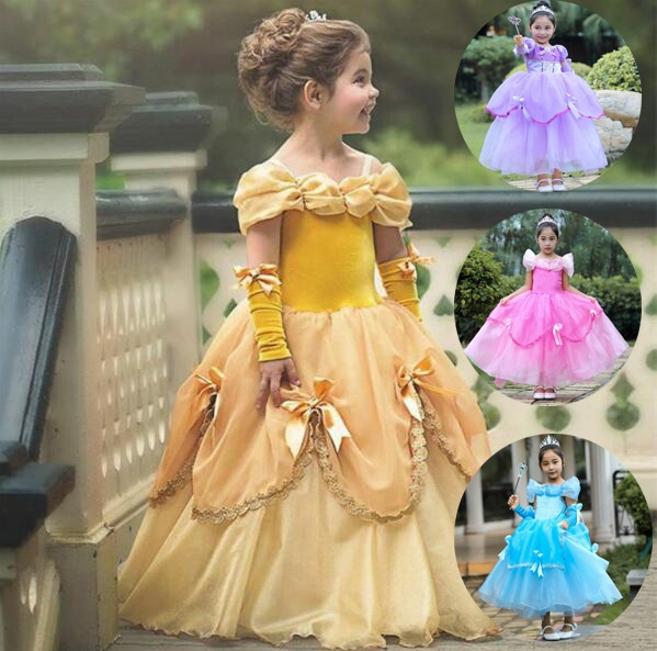 Princess Costume Dress Carnival Belle Beauty and The Beast Ball Gown for Girls