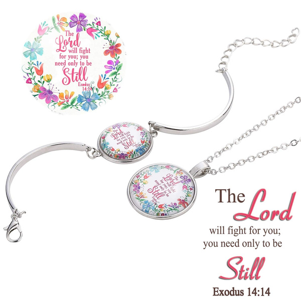Women Bracelet Pendant Necklace Jewelry Sets Bible Verse Scripture  Christian Adjustable Bangle Necklace Handmade Glass Silver Plated Jewelry  for Women