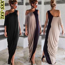 Elegant, Patchwork, Dress, Loose