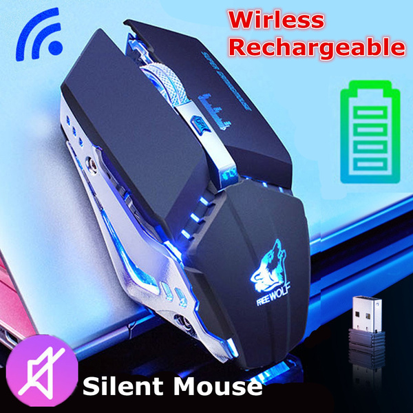 [Explosive Upgrade]2 4GHz Free Wolf x11 Wireless Rechargeable Silent LED  Backlit USB Optical Ergonomic Boys and Girls Unlimited Game LOL Office