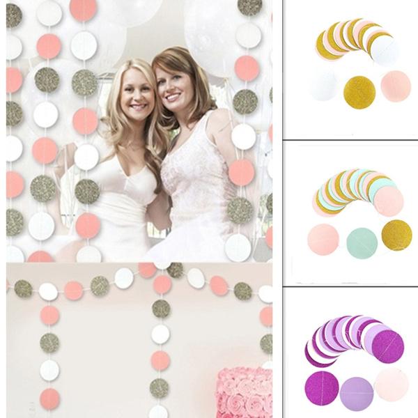 Pink White Gold Glitter Circle Polka Dots Paper Garland Banner 2M Banner
