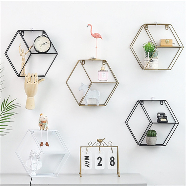 Wall Mounted Metal Nordic Hexagon 3 Partitions Hanging Rack Storage Etagere Murale Etagere
