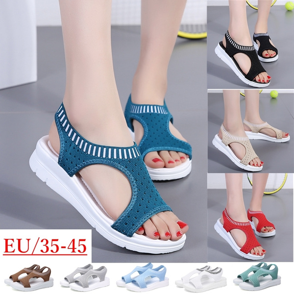Summer Women Flat Bottom Shoes Wild Thick Bottom Casual Fish Mouth Sport Sandals