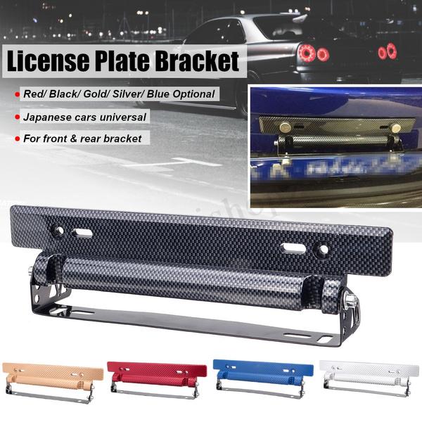 Carbon Fiber Style Front Bumper License Plate Frame Adjustable Mount Bracket USA