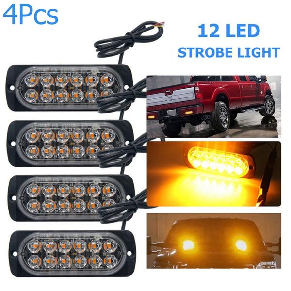 Bulb Truck Emergency 36W 12 LED Yellow 12-24V Flash Warn Car Strobe Light Bars