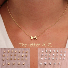 lettersnecklace, Heart, initialsnecklace, Love