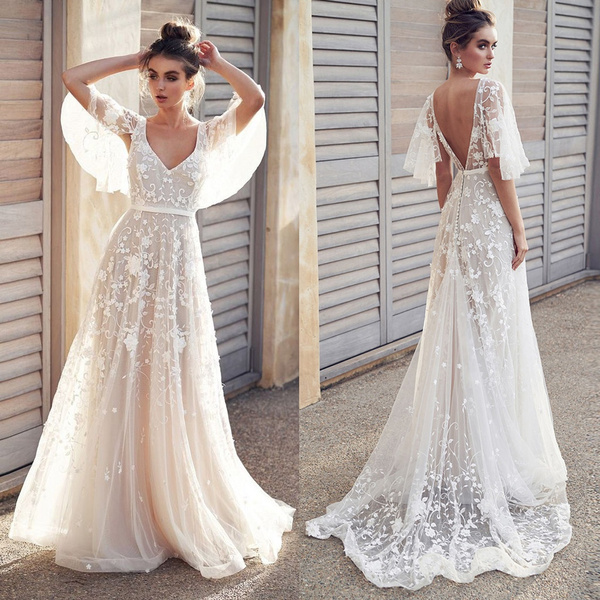 Autumn Womens Fashion V Neck Short Sleeve Lace Vintage Gown Evening Wedding Party Dress Robe De Mariee