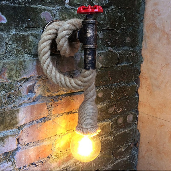 balcony bar and cafe Industrial Rope Wall Lamp Vintage Industry Steam Punk Wandlamp Water Pipe Led Wall Light Vanity Light For Restauant Porch Corridor Stairs Balcony Bar