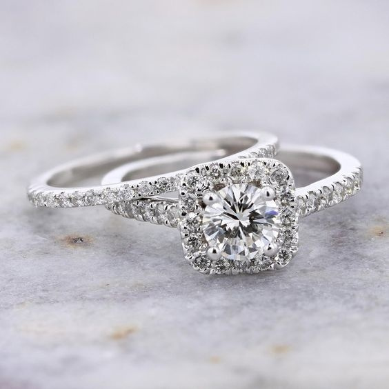 Exquisite Women S Fashion 925 Sterling Silver Wedding Rings Set King Queen Natural White Sapphire Diamond Jewelry Anniversary Promise Christmas Gift Bride Wedding Band Engagement Ring Sets Size 5 11 Wish