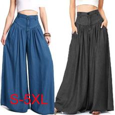 Women Pants, Blues, Loose, high waist