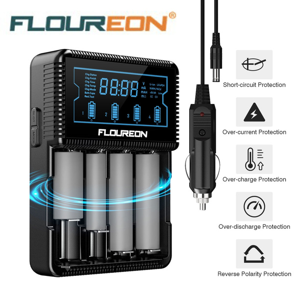 Floureon Universal Smart Battery Charger with LCD Display, Power Adapter,  Car Adapter for Rechargeable Batteries Ni-MH AA AAA, Li-ion 26650 20700