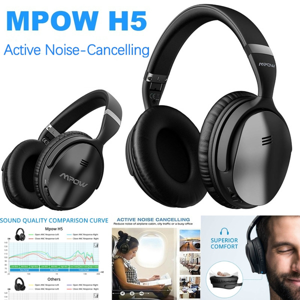 Mpow H5 2019 Upgrade Gen 2 Active Noise Cancelling Headphones Anc Over Ear Wireless Bluetooth Headphones W Mic Electroplating Stylish Look Comfortable Protein Earpads For Travel Work Computer Home Wish