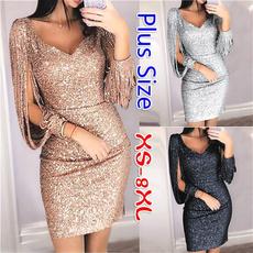 slim dress, Tassels, Plus Size, Moda