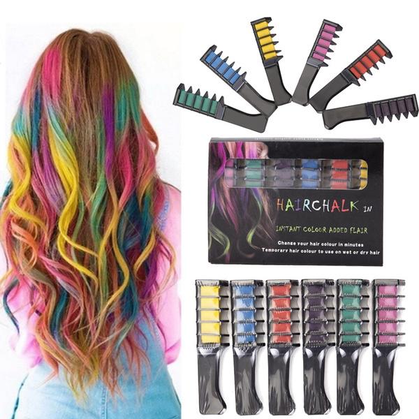 6pcs Disposable Hair Dye Comb 6-Colour Hair Dyeing Chalk for Temporary Hair  Colour