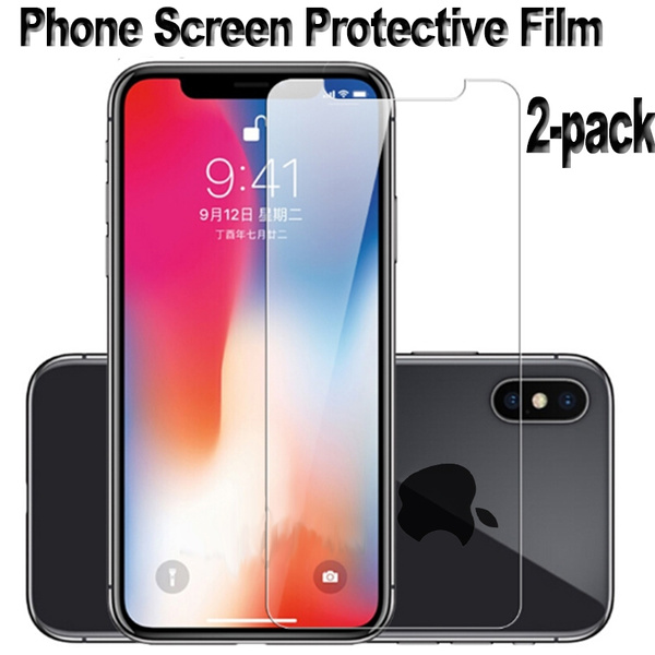 5639c2cae7e 2-Pack HD Tempered Glass Film Cover for iPhone XS MAX XR X 6 7 8 SE ...
