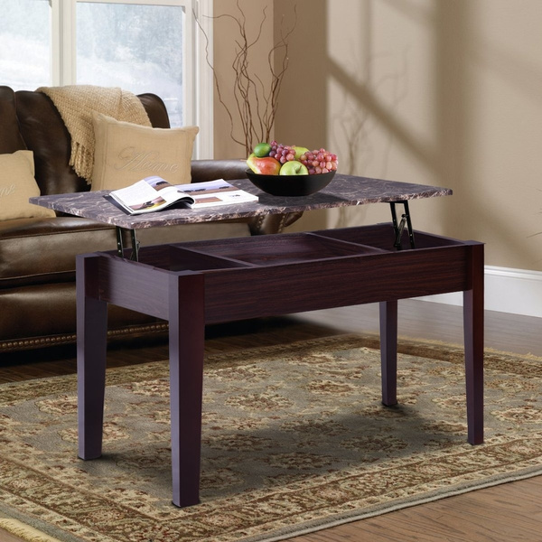 Lift Top Coffee Table Faux Marble With Storage Space Shelf Solid