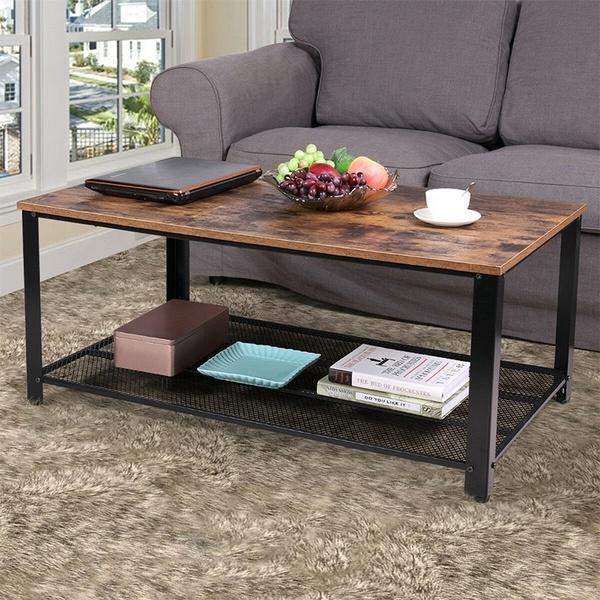 Pleasing Living Room Retro Wood Color Coffee Tables 2 Layers Tea Desk 106 24560 2Cm Fr Machost Co Dining Chair Design Ideas Machostcouk