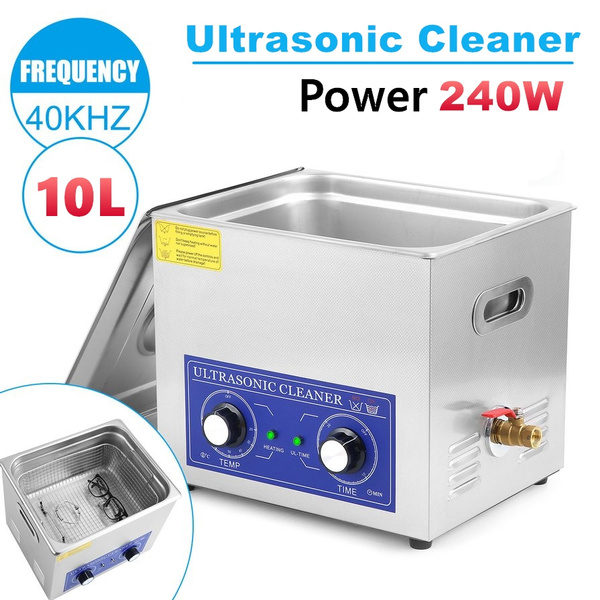10L Stainless Ultrasonic Clean Cleaner With Basket for Jewelry Glasses  Denture Watch Cleaning Auto Parts PCB Boards Electronic Components  Industrial