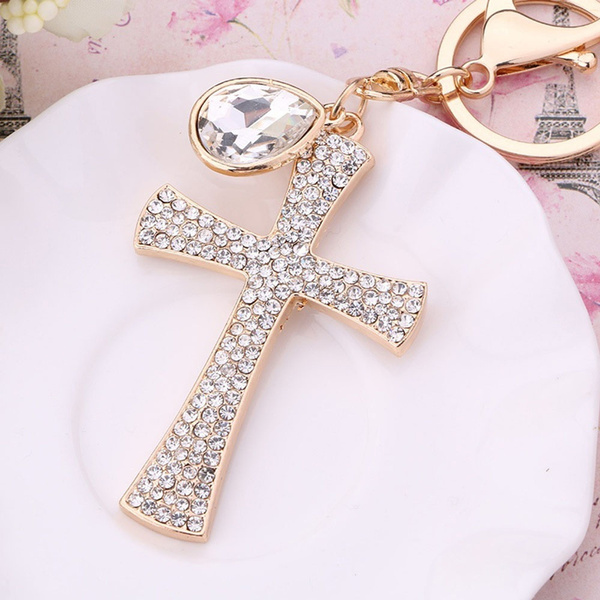 Bag Decoration Key Holder Crystal Keyring Alloy Cross Keychain Handbag Pendant