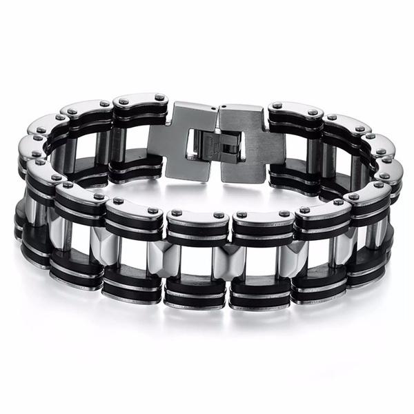 Motorbike Biker Bike Chain Link Bracelet Men/'s Stainless Steel Wristband Bangle