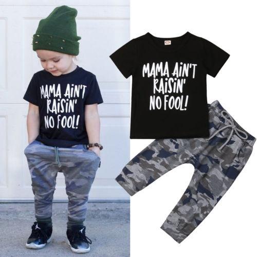 2a804d9ce Toddler Kids Boys Hip Hop T-shirt Tops+Camo Pants 2pcs Outfits ...