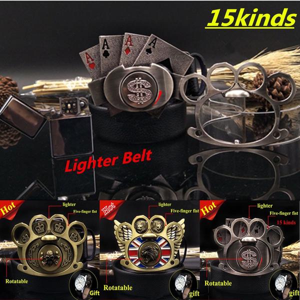 15 Kinds Juvenile Lighter Self-defense Belt Men's Trend Personality Fist  Buckle Fashion Student Leather Youth Belt