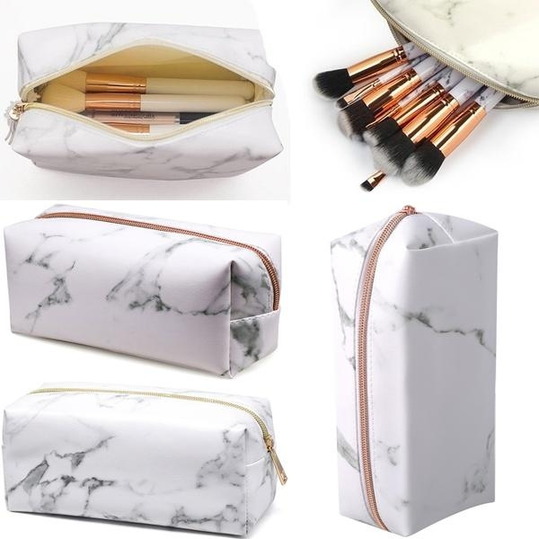 d99193291042 Women Fashion Zipper PU Leather Marbled Portable Cosmetic Bag Travel  Large-capacity Make Up Storage Bag