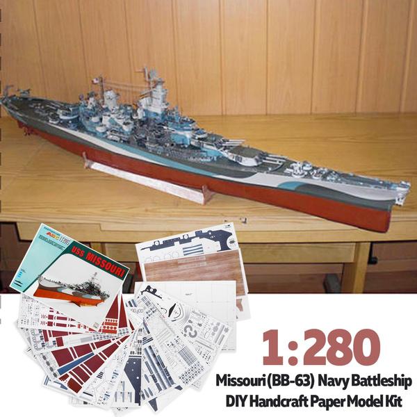 1:280 Scale 96mm(L) DIY RUSS Lowa Class MISSOURI Battleship Model Ship  Military Warship Paper Model kit high challenge!