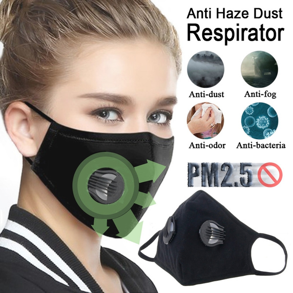 Black 5 Breath Anti Valve Pm2 Carbon Mouth-muffle With Dustproof Replaceable Cotton Washable Haze Mask Respirator Masks Mouth Activated Filter