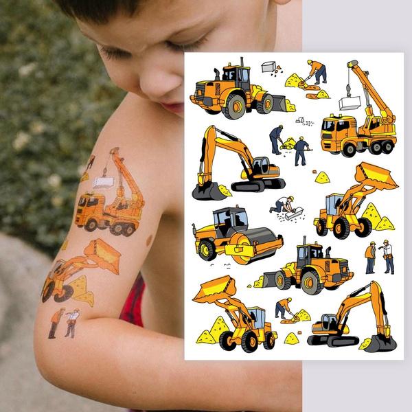 tattoo, bulldozer, temporary, excavator