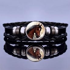 Charm Bracelet, horse, blackleatherbracelet, Jewelry