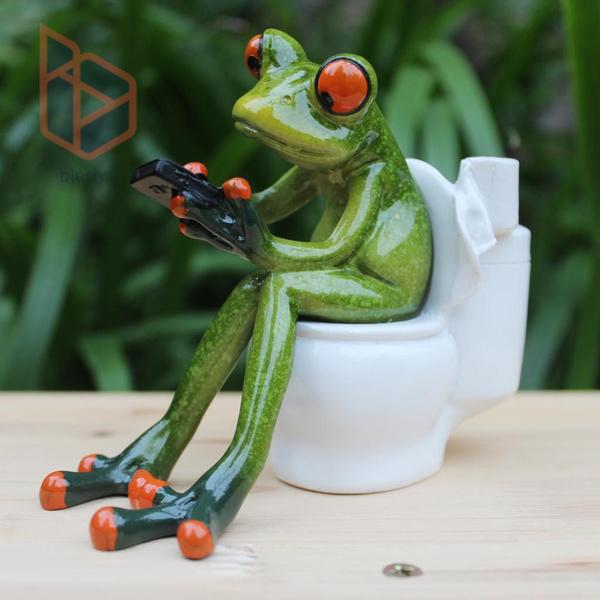 Cute Frog Figurine Cartoon Miniature Frog Figurines Resin Crafts Souvenirs D