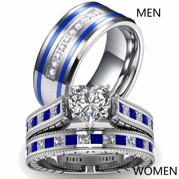 Size6 12 Two Rings Couple Rings His Hers White Gold Heart Cz Sapphire Women S Wedding Ring Sets Stainless Steel Men S Ring