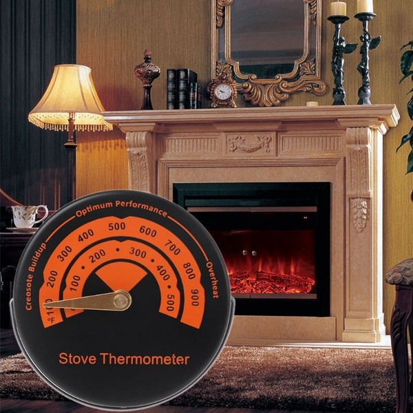 Magnetic Wood burner Stove Pipe Fireplace Heat Temperature Gauge Thermometer
