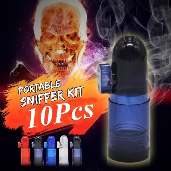 10pcs Acrylic Snuff Bullet Snuffer Dispenser Plastic Snorter Rocket Box  Nasal Clear Snorter Sniffer Snuff Boxes