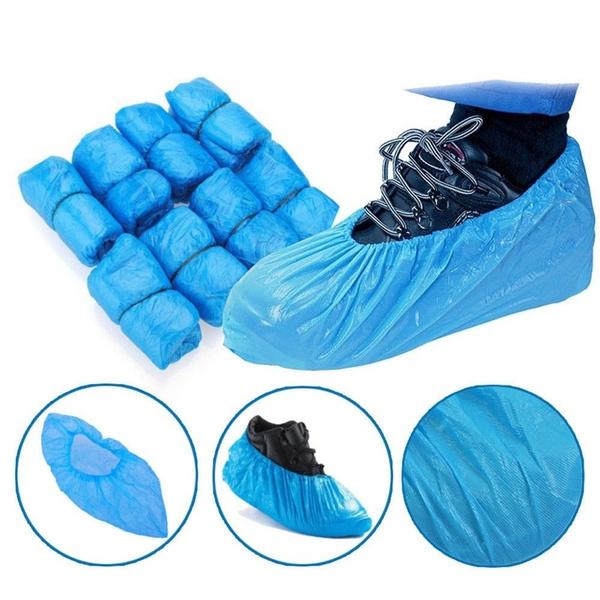 100pcs Waterproof Plastic Shoes Covers Rainproof Disposable Mud-proof  Overshoes