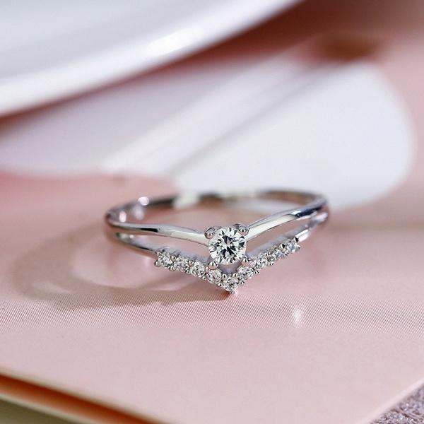 Hot New Fashion 925 Silver Diamond Sweet Creative Engagement Ring