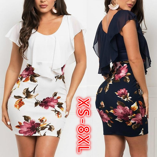 Plus Size, Floral print, Dresses, Evening Dress
