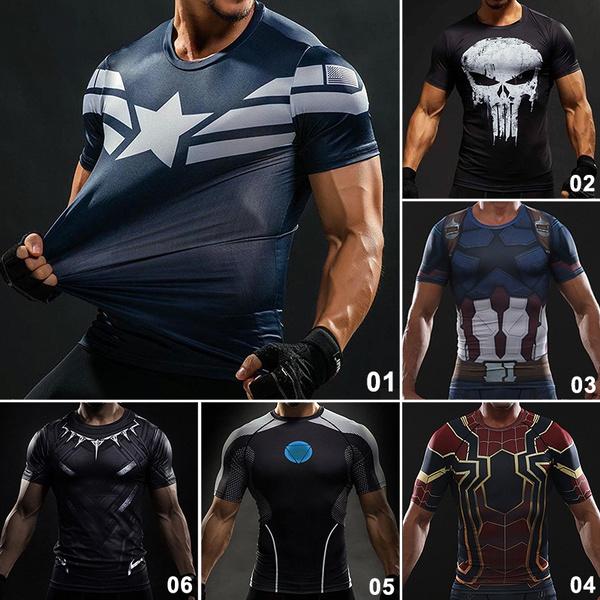 captainamericashirt, runningshirt, sporttshirt, Men