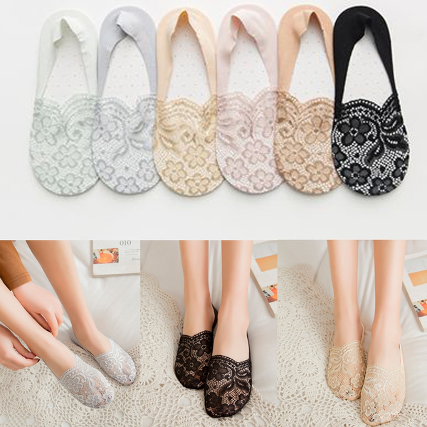 Women Cotton Lace Flower Short Sock Summer Antiskid Invisible Liner Low Cut Sock