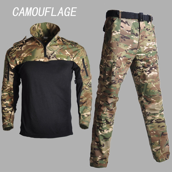 Mens Army Tactical Combat T-Shirts Pants Military BDU Uniform Casual Camouflage