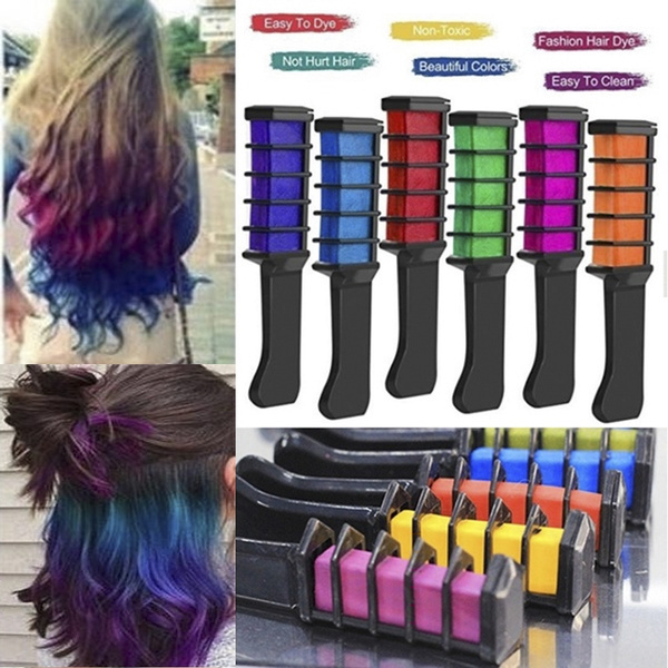 6PCS Disposable Hair Dye Comb Non-toxic Chalk Hair Dyeing Chalk for  Temporary Hair Colour 6 Colors