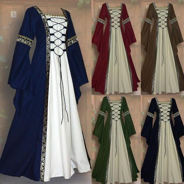 Women\'s Fashion Vintage Celtic Long Sleeve Medieval Dress Floor Length  Renaissance Gothic Dress Cosplay Halloween Costume Plus Size S-5XL