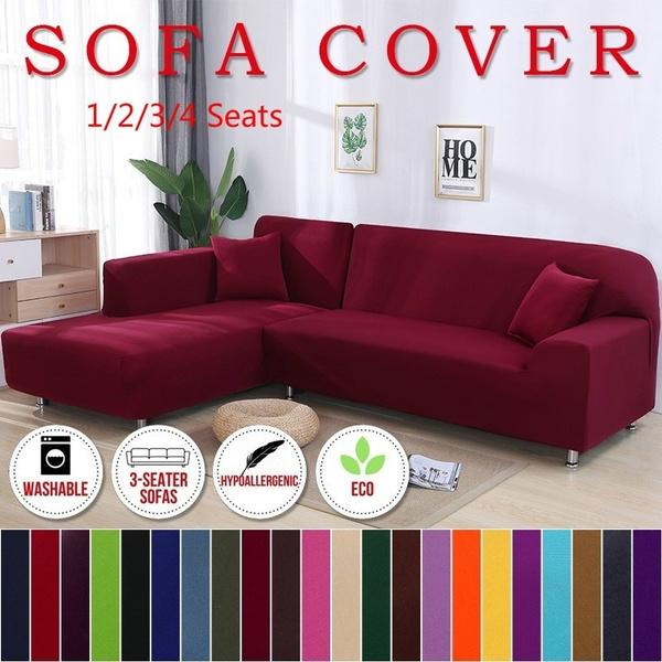 Terrific Fashion 17 Solid Colors Slipcovers Home Living Sofa Cover 1 2 3 4 Seats L Shape Recliner Protector Cover Set Caraccident5 Cool Chair Designs And Ideas Caraccident5Info