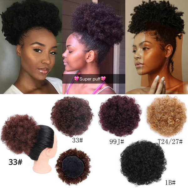 High Puff Short Clip In Ponytail Drawstring Afro Bun Hair Extensions Size 6 Inch